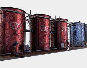 3D model game-ready oil Tanks