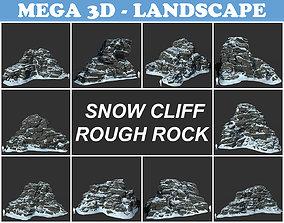3D model Low poly Snow Cliff Rough Rock 210404