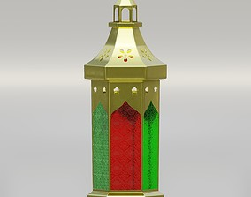 Metallic Arabian lantern with engraved glass 3D model