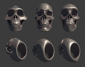 3D model 3 Rings Neanderthal Australopithecus and Human