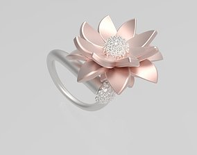 Contemporary Lotus Ring 3D printable model