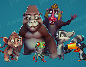 3D model animated Wild Animal Friends