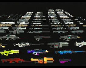 3D asset Modular Low Poly Guns and Weapons