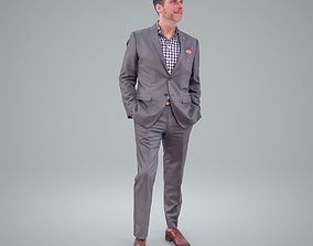 Classy Smiling Business Man with Grey Suit 3D