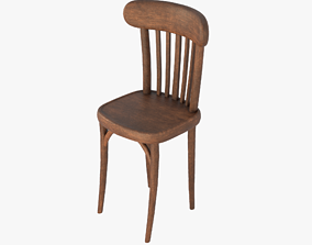 Old Vintage Chair Wooden 01A 3D asset realtime