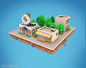 Cartoon City Block Dount Cafe Building 3D model