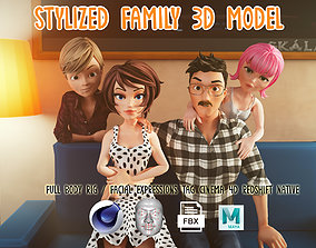 3D asset Stylized Family Rigged Cartoon Characters Pack