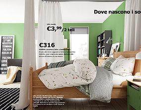 3D Scene bed hurdal and various furnitures
