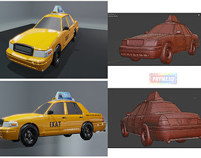 Lowpoly taxi 3D asset