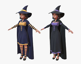 3D model Cartoon Witch Girl