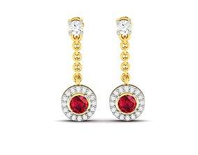 Women earrings 3dm render detail hoop brilliant