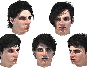 Set male hairstyle 5 species 5 3D asset