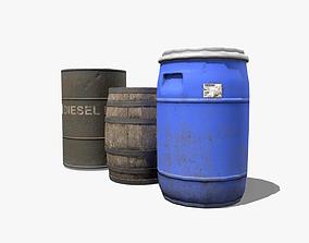 Barrel Pack 3D asset low-poly