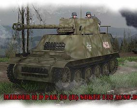 Marder II Pak 36R Sdkfz 132 Ausf D 3D
