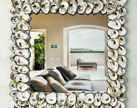 Oyster Shell Mirror by Currey and Co 3D model mediterranean
