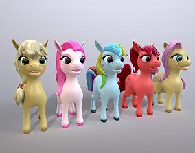 cartoon ponies 3D asset