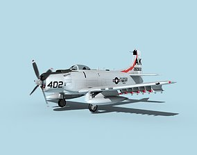 3D model Douglas A-1H Skyraider USN Saratoga