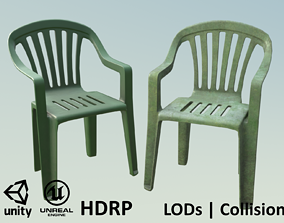 3D asset Garden Plastic Chair Green - 3 Versions