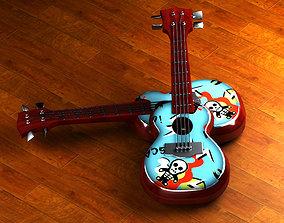 Cartoon Guitar Animated Musical Instrument 3D
