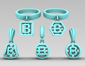 Initial letter charm with 5 3D printable model 4