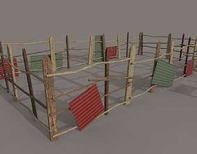 different Wooden fence PBR 3D model