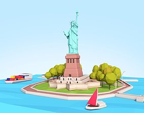 3D asset Low Poly Statue Of Liberty Scene