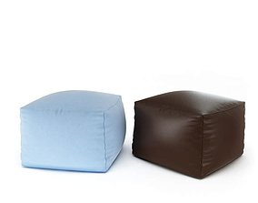 3D model Brown And Light Blue Ottomans
