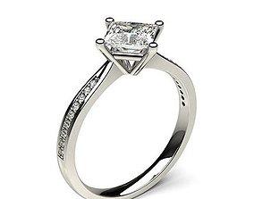accessory Princess Cut Diamond Ring 3D printable model