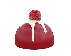 Crimson mousse cake with raspberry 3D model