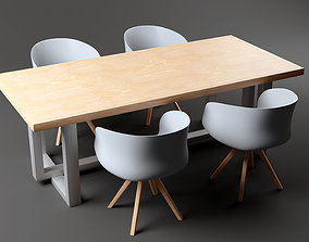 3D model Low Poly Table and chair