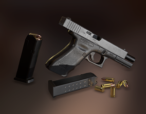 Glock 17 3D model realtime PBR