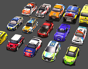realtime Low Poly Rally Car Pack Low-poly 3D model