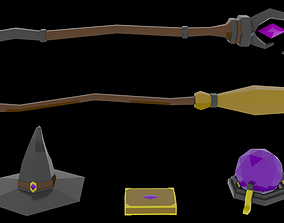 Low Poly Mage Pack 3D asset