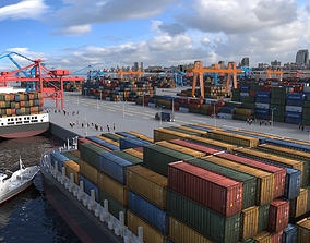 Container Terminal Shipping Port 3D model
