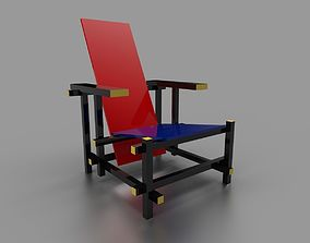Red and Blue Chair by Gerrit Thomas Rietveld 3D asset
