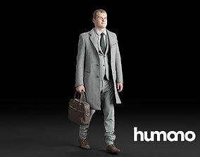 3D Humano Elegant Man in a coat Walking with a suitcase