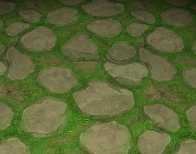 3D model ground stone grass tile 08