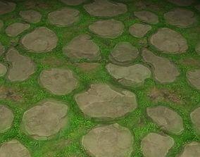 3D model ground stone grass tile 08