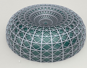 3D model Dome structure with decorative glass panels large