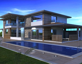 House with pool 3D model