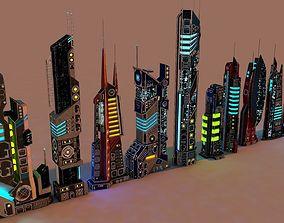 3D asset SCI FI FUTURISTIC CITY Package