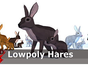 3D model LowPoly Hares pack