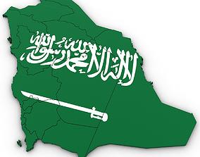 3D Political Map of Saudi Arabia syria