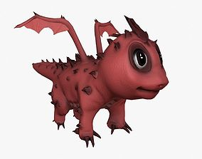 3D asset Rigged little cute dragon