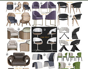 Chair collection 10 pieces 3D asset