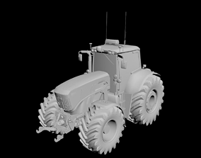 3D model John Deere tractor and front loader