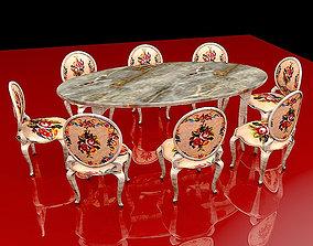 Orient Dining Table Set 3D model