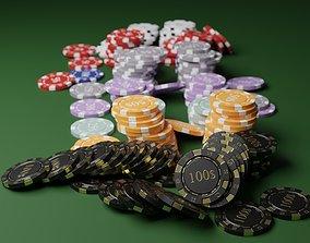 3D model Poker chips DOLLAR asset