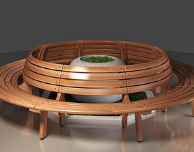 Wooden Round Bench and Flowerpots 3D