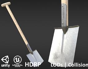 Game-ready Clean Shovel - Unity - HDRP - UE4 3D asset